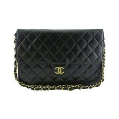 Chanel Three Way Black Lambskin 2.55 Gold Hardware CC Evening Clutch