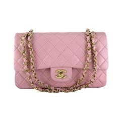 Chanel Pink Lambskin 2.55 Classic Medium Double Flap Evening Bag