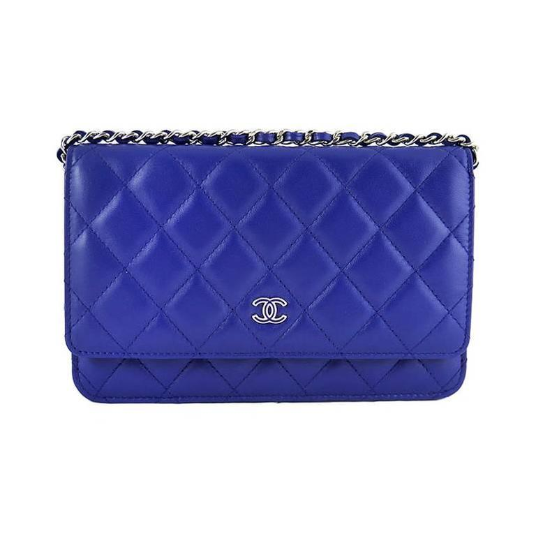 Chanel WOC Purple Blue Lambskin Classic CC 3way Wallet On Chain 1