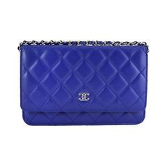 Chanel WOC Purple Blue Lambskin Classic CC 3way Wallet On Chain