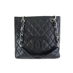 Chanel Pst Black Caviar Leather Petite Shopping Tote Silver Hardware