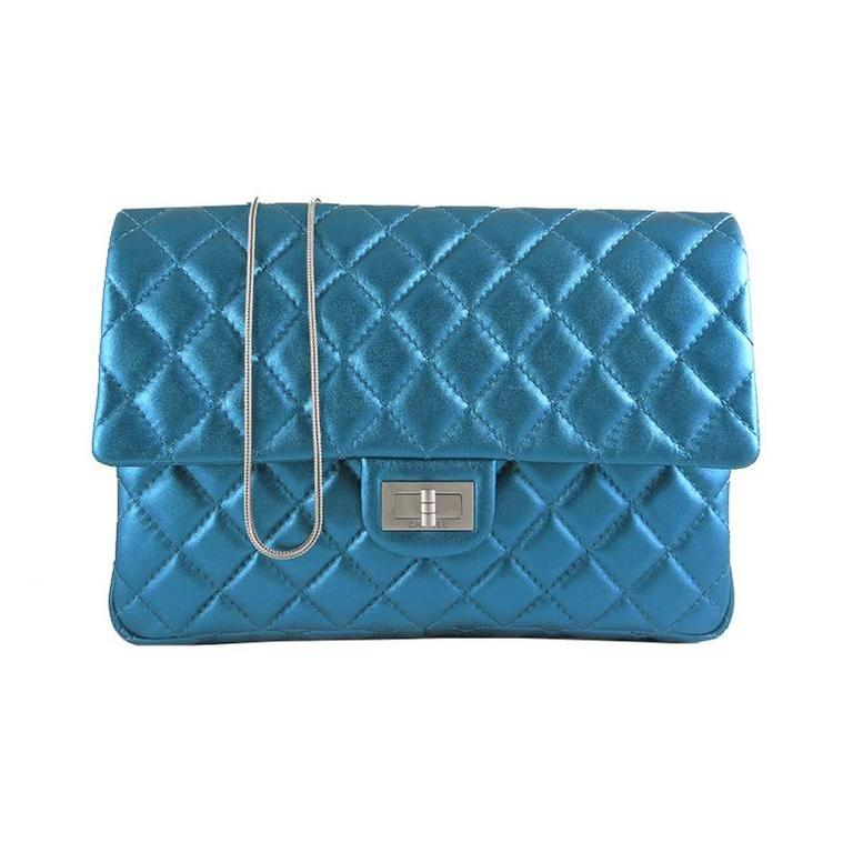 Chanel Jumbo Reissue 226 Metallic Blue Lambskin Evening Bag
