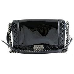 Chanel Boy Black Patent Medium Evening Flap Bag