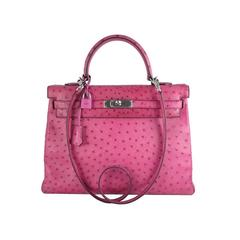 Hermes Pink Fuchsia Kelly Ostrich 35cm Palladium Hardware Shoulder Bag