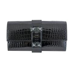 Hermes So Black Medor Crocodile Clutch Purse