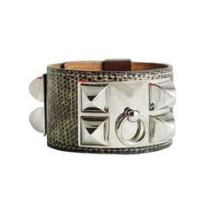 Hermes Cdc Ombre Lizard Collier De Chien Medor Silver Bracelet