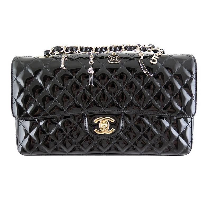 Chanel Ginza 5th Anniversary Black Patent Medium 2.55 Flap For Sale