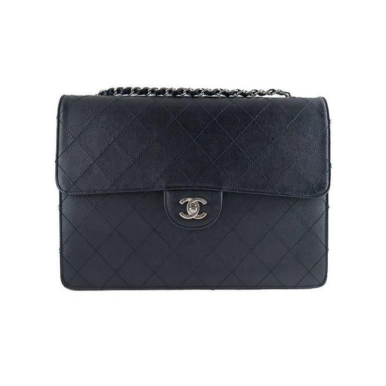Chanel Caviar Jumbo Black 2.55 Classic Silver Hardware Flap Bag
