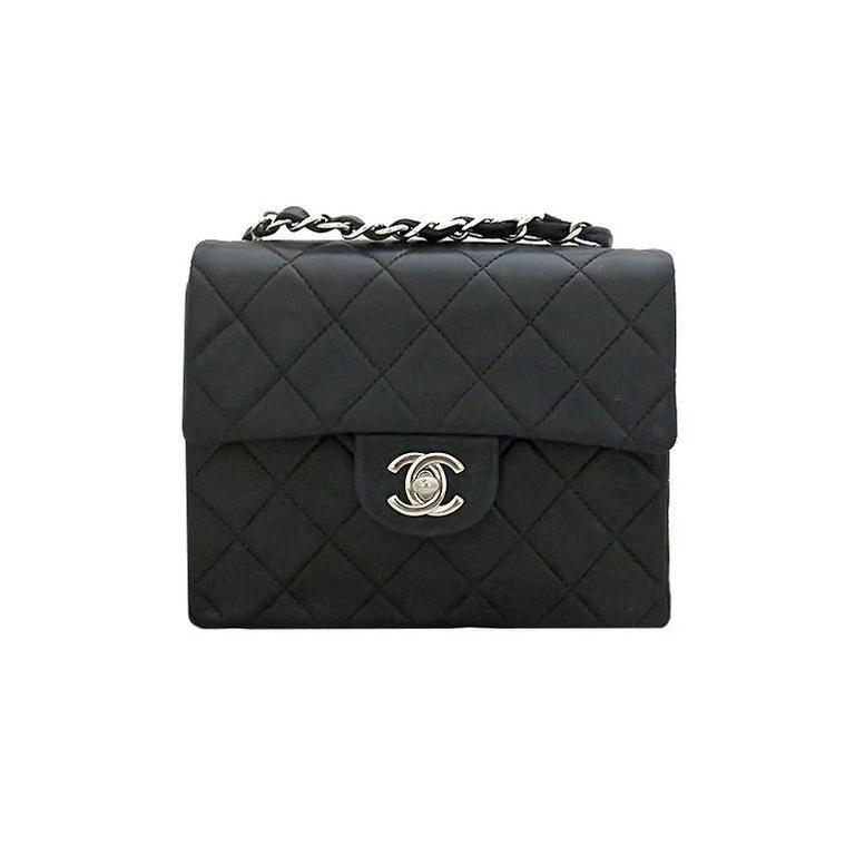Chanel Black Lambskin 2.55 Classic Small Flap Silver Hardware