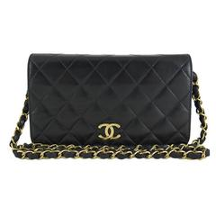 Chanel Black Lambskin Single Flap 2.55 Evening Shoulder Bag