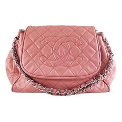 Chanel Caviar Salmon Pink Accordion Tote Shoulder Bag