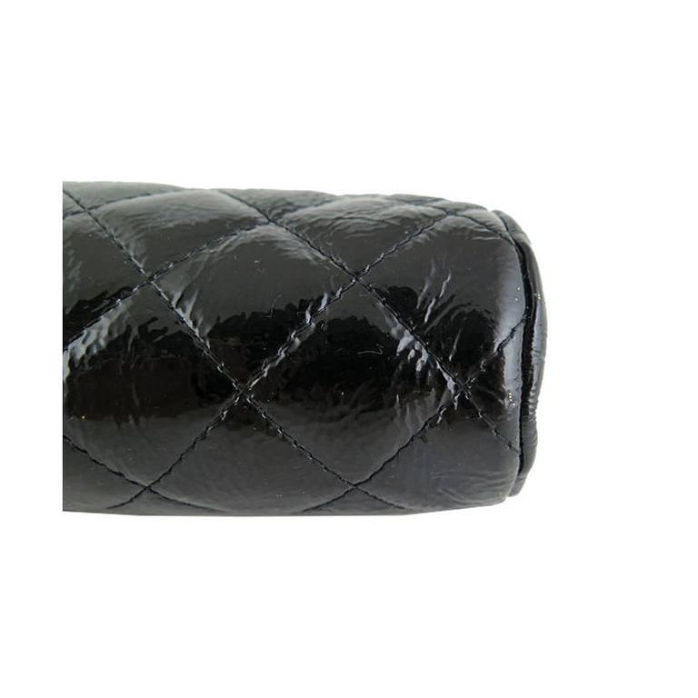Chanel Black Distressed Patent Leather CC Timeless Clutch Bag 7