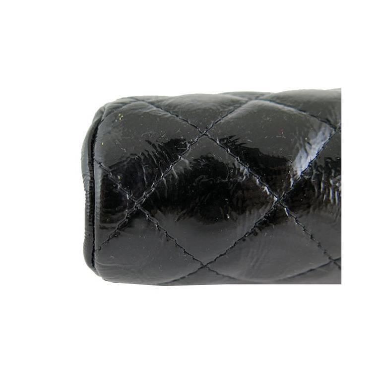 Chanel Black Distressed Patent Leather CC Timeless Clutch Bag 6