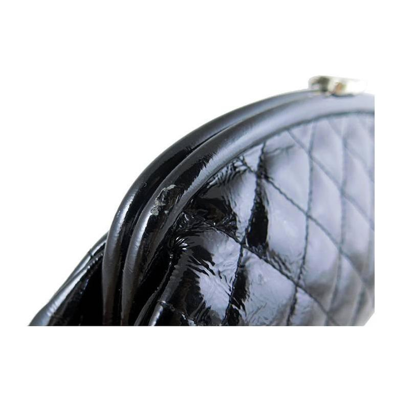 Chanel Black Distressed Patent Leather CC Timeless Clutch Bag 9