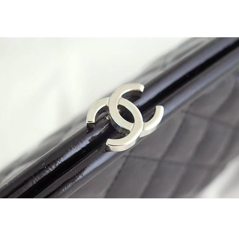 Chanel Black Distressed Patent Leather CC Timeless Clutch Bag 2