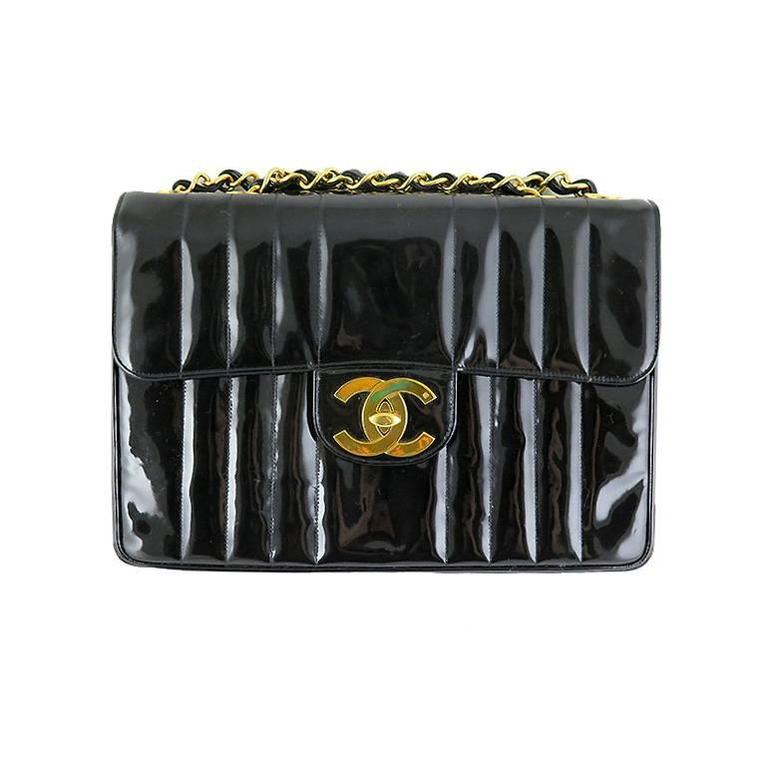 Chanel Jumbo Black 12 inch Patent Mademoiselle 2.55 Classic Bag