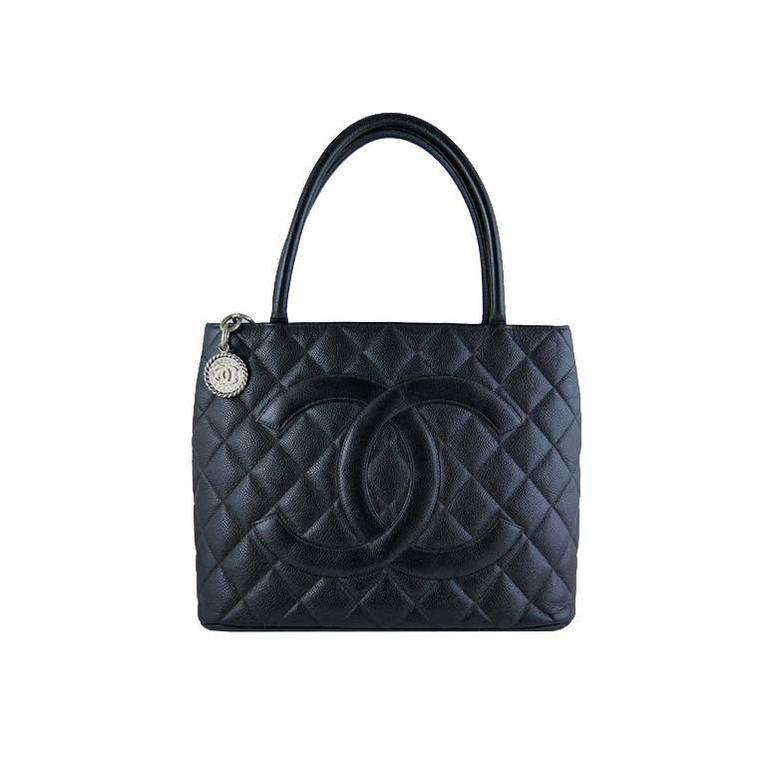 Chanel Caviar Black Medallion Silver Hardware Shoulder Tote Bag