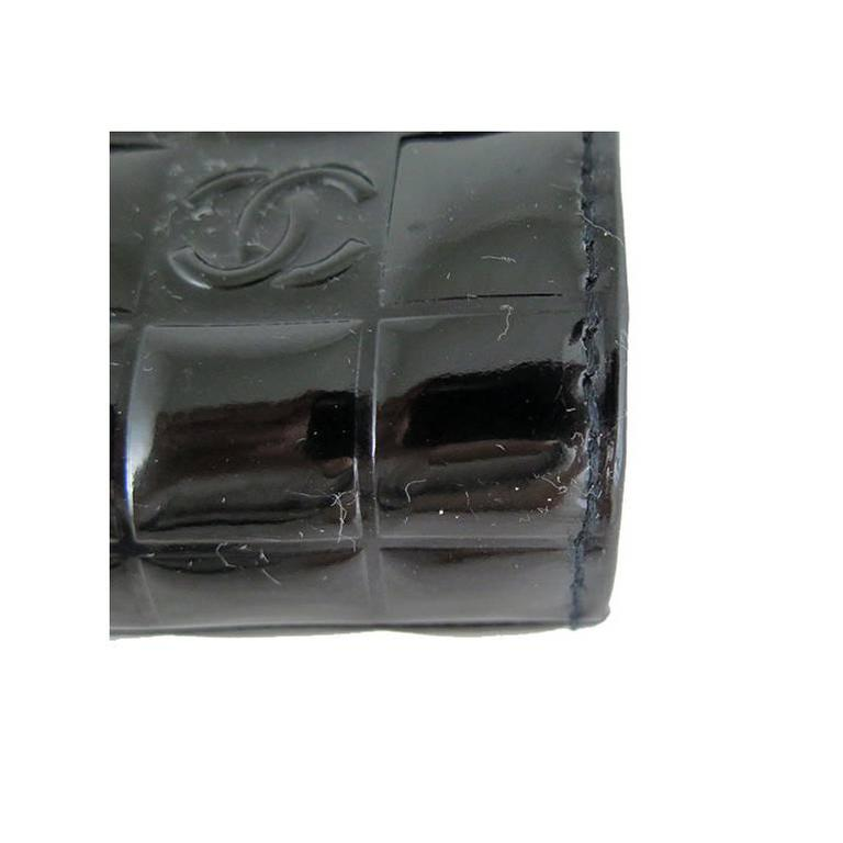 Chanel CC Mirror Black Patent Medium Evening Clutch Bag For Sale 5