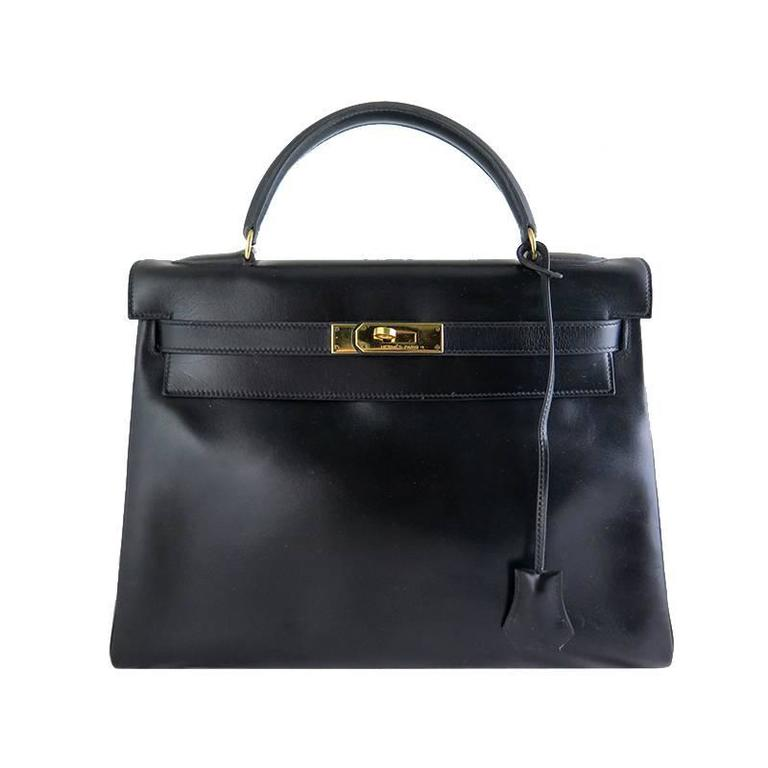 Hermes Kelly 32 Black Boxcalf Leather Gold Hardware Vintage Purse