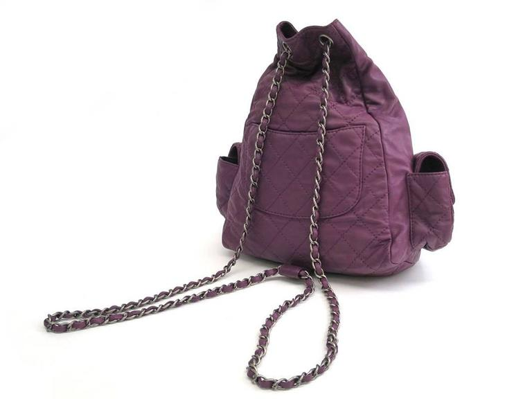 Chanel Purple Lambskin Quilted Seasonal Backpack Bag 2