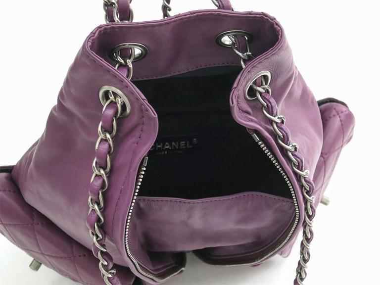 Chanel Purple Lambskin Quilted Seasonal Backpack Bag 4
