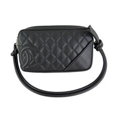 Chanel So Black Cambon Pochette CC Lambskin Evening Shoulder Bag