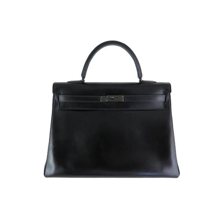 Hermes So Black Kelly 35 Boxcalf Leather Black Hardware - Rare For Sale