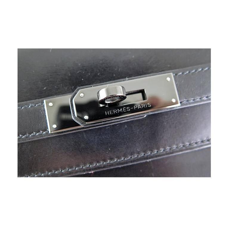 Women's or Men's Hermes So Black Kelly 35 Boxcalf Leather Black Hardware - Rare For Sale