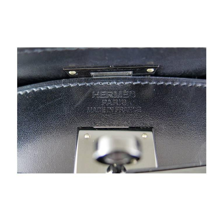 Hermes So Black Kelly 35 Boxcalf Leather Black Hardware - Rare For Sale 1