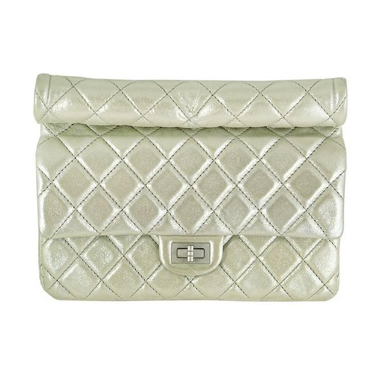 Chanel Reissue Silver Iridescent Calfskin 10 inch Medium Clutch