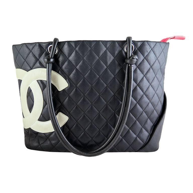 Chanel Jumbo Cambon Black Lambskin CC Shoulder Tote Bag For Sale