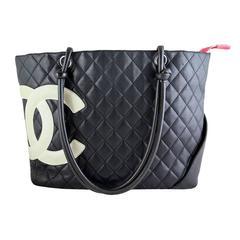 Chanel Jumbo Cambon Black Lambskin CC Shoulder Tote Bag