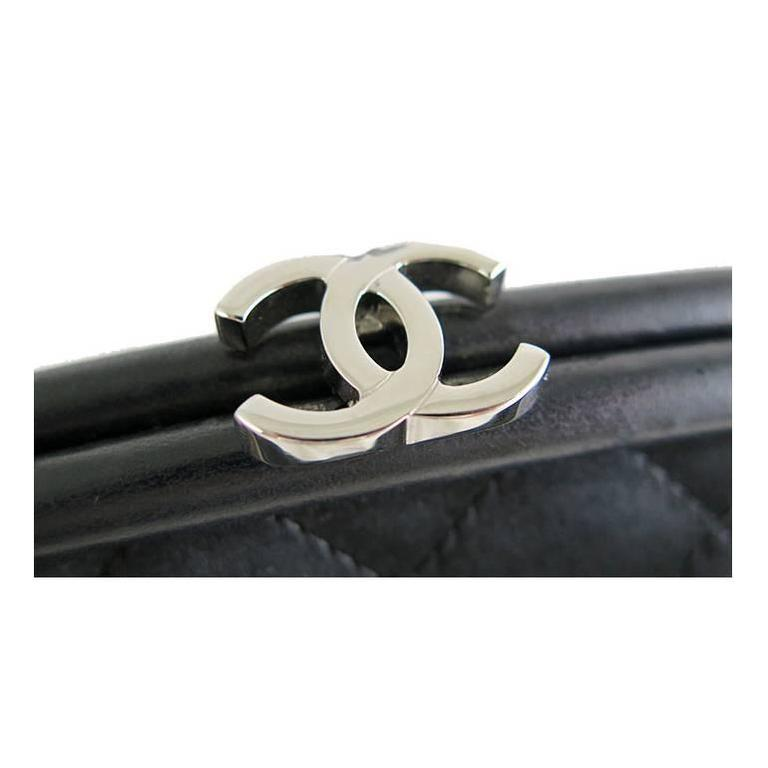Chanel Black Timeless Classic Silver CC Satin Clutch Bag 3