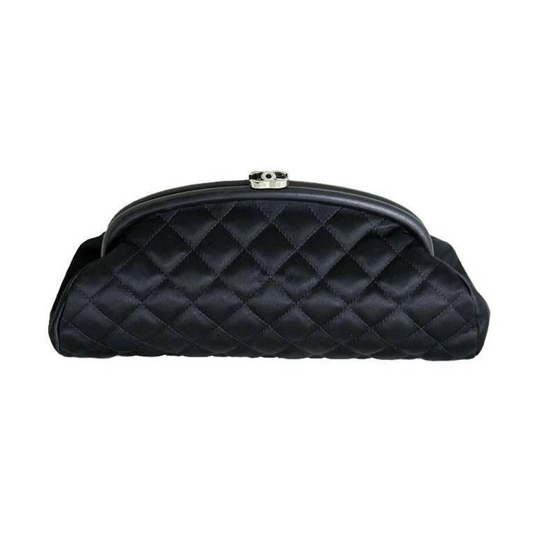 Chanel Black Timeless Classic Silver CC Satin Clutch Bag 2