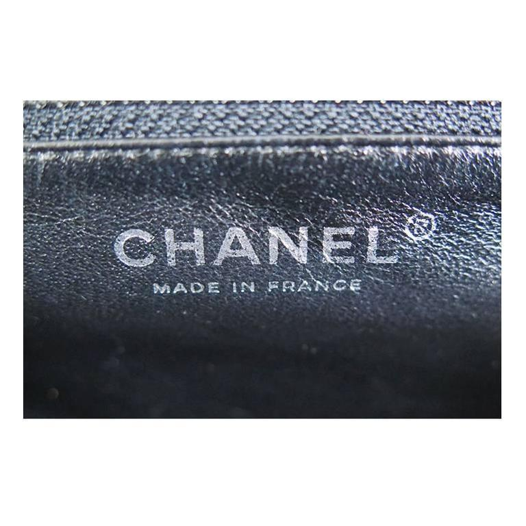 Chanel Black Timeless Classic Silver CC Satin Clutch Bag 5
