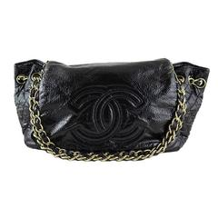 Chanel Jumbo Black Patent Rock and Chain Shoulder Bag