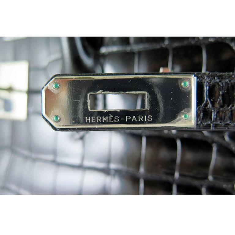 Hermes Birkin 35 Black Porosus Crocodile Alligator Palladium Hardware 4