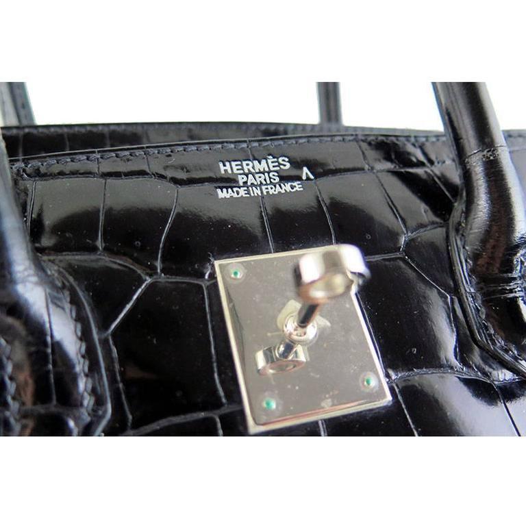 Hermes Birkin 35 Black Porosus Crocodile Alligator Palladium Hardware 3