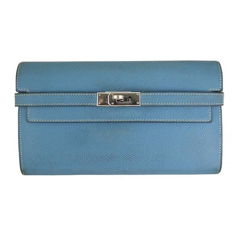 Hermes Kelly Long Wallet Blue Jean Epsom Leather Palladium Hardware