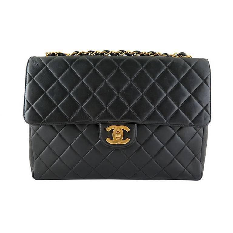 Chanel Jumbo 12inch Black Lambskin Classic 2.55 Flap Bag