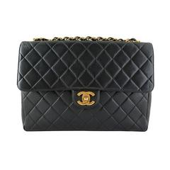 Chanel Jumbo 12inch Black Lambskin Classic 2.55 Flap Bag