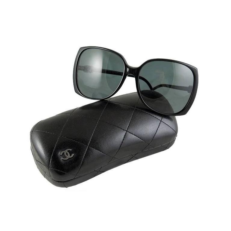 Chanel Black Silver CC Sunglasses Shades 1
