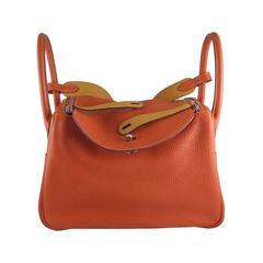 Hermes Lindy 30 Eclat Bicolor Orange Moutard Clemence Leather Bag - RARE