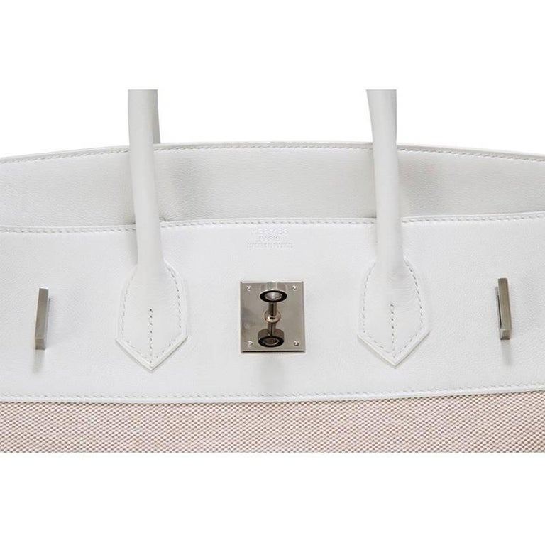 Hermes Toile H White Swift Leather Birkin 35cm Bag 7