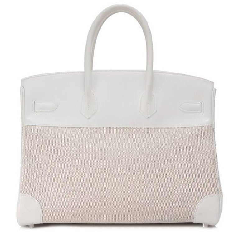 Hermes Toile H White Swift Leather Birkin 35cm Bag 3