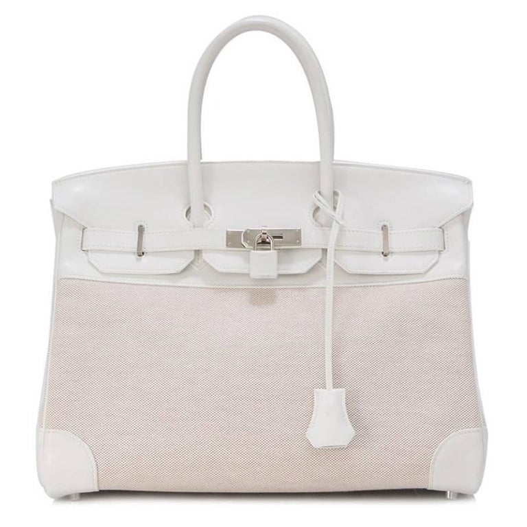 Hermes Toile H White Swift Leather Birkin 35cm Bag 2