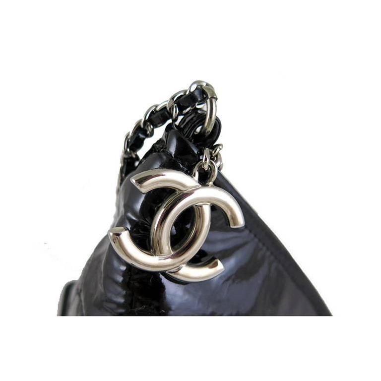 Chanel Black Patent Leather Pyramid Triangle CC Minaudiere Bag 2