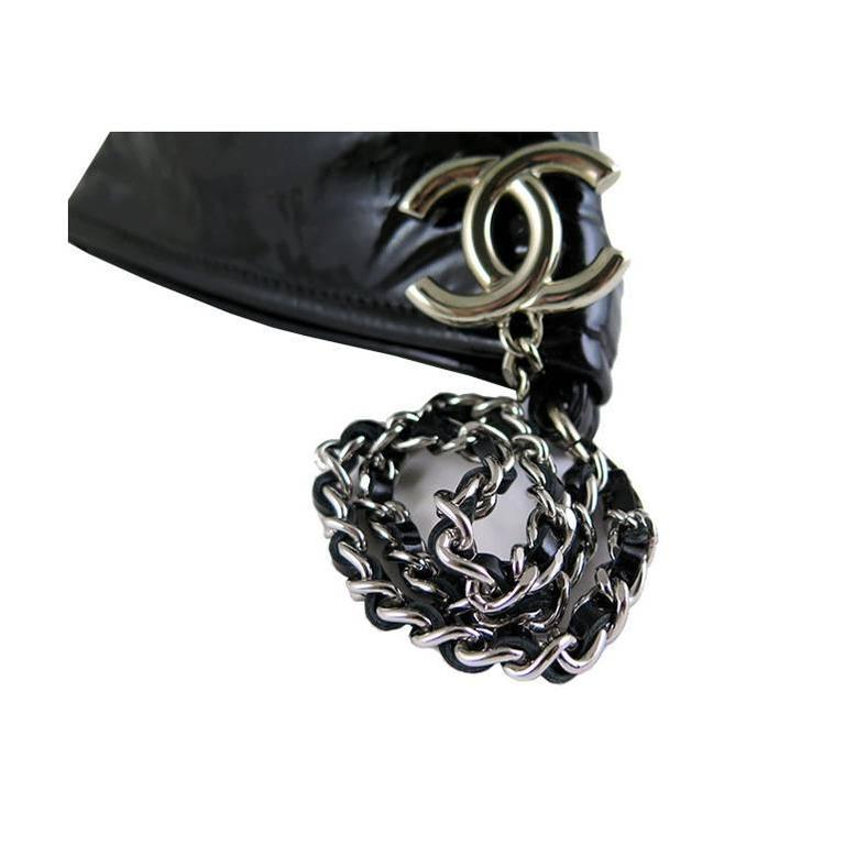 Chanel Black Patent Leather Pyramid Triangle CC Minaudiere Bag 3