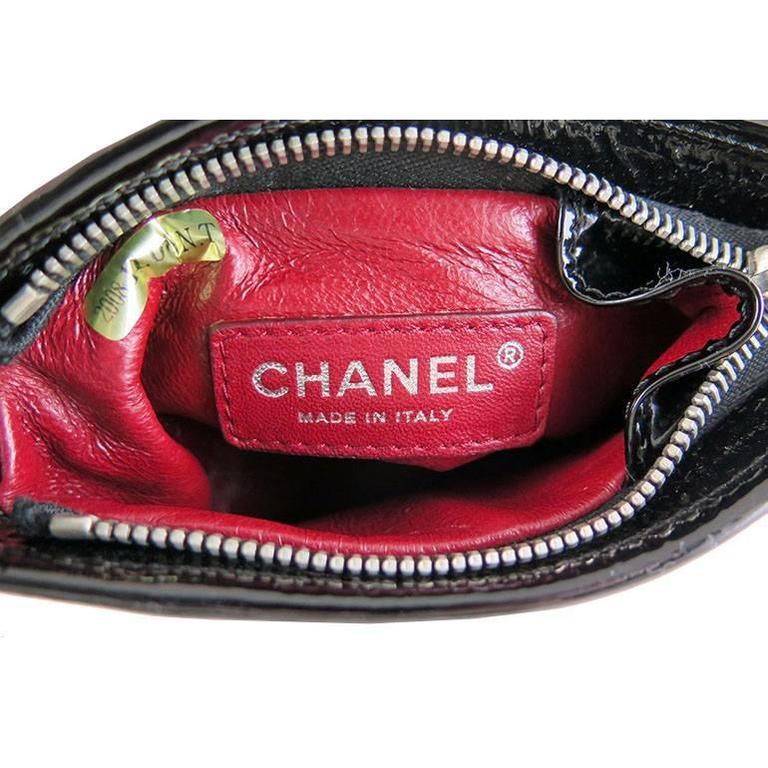 Chanel Black Patent Leather Pyramid Triangle CC Minaudiere Bag 4