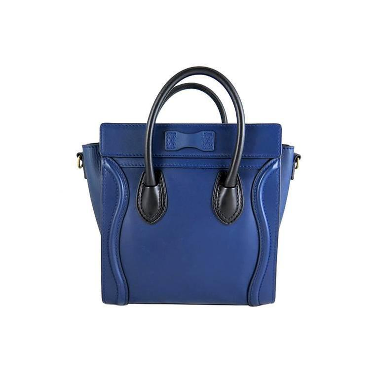 Celine Nano Bicolor Ocean Blue Black Handles Leather Luggage 2